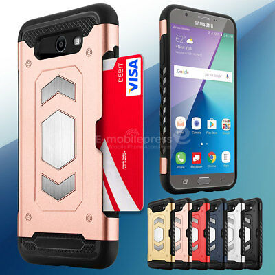 For Samsung Galaxy J7 Prime 2017 Sky Pro Hybrid ShockProof Rugged CardCase Cover