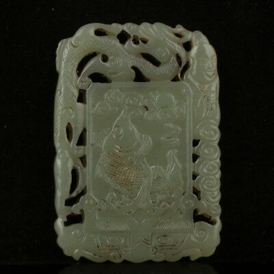 Chinese Exquisite Hand-carved people fish Dragon Carving Hetian jade Pendant