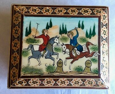 Vintage hand crafted Persian Khatam Kari Marquetry Jewerly Box