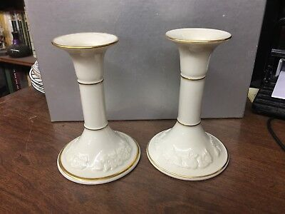 """Pair of Lenox Fruits of Life 5-1/4"""" Candle Stick Holders"""