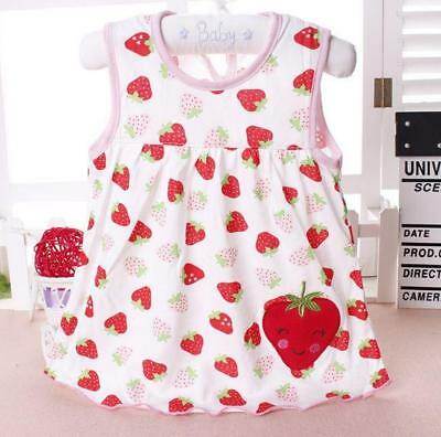 Baby Girl Strawberry Dress Summertime Outfit Cotton Clothes Cute Toddler Infant