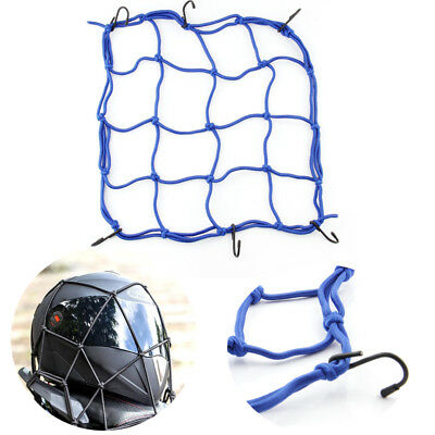 Elastic Cords Bungee Net Holder Helmet Tank Bike Luggage 6 Hooks Mesh, Blue