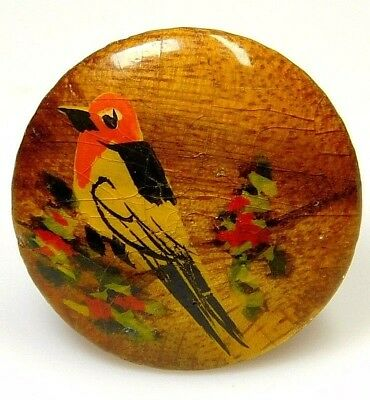 ANTIQUE Vintage Button Hand Painted WOOD Bird Button Robin Sitting in a TREE 1.0