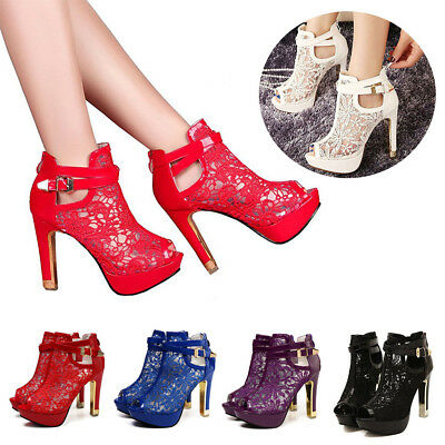 0bf5ae102964 Womens Ladies Platform High Block Heel Sandals Open Toe Ankle Boots Shoes  Size