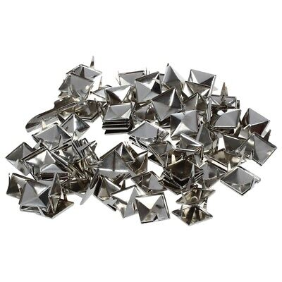 100pcs 2 Prongs Pyramid Studs 12mm Silver--Great for Any Leathercraft Proje L7Y7