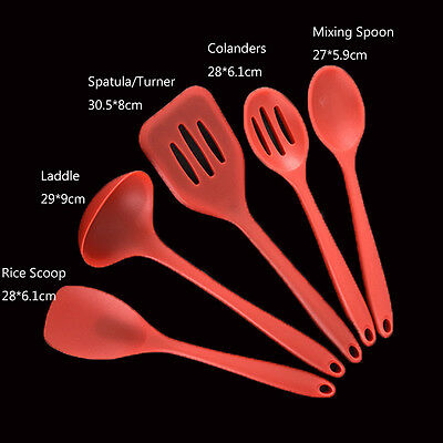 5PCS Silicone Kitchen Utensils Kits Cooking Spoon Baking Cake Icing Mixing Tools