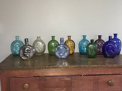 Vintage Glass Reproduction Bottle Flask Lot Historical Washington Harrison Color