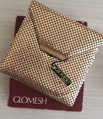Rare vintage gold Glomesh wallet with tag and box - never used