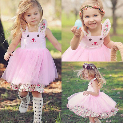 Adorable Kids Baby Girls Cute Bunny Floral Tulle Princess Dress Sundress Clothes