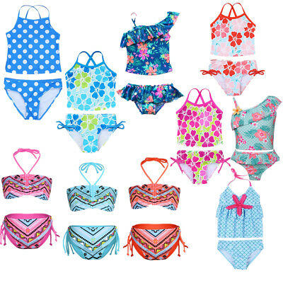 AU Kids Girl Two-Piece Flower Swimwear Bikini Tankini Swimsuit Bathing Beachwear