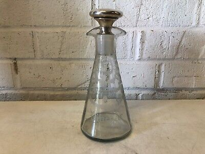 Antique Hawkes Glass Signed Vinegar Oil Cruet with Sterling Silver Stopper