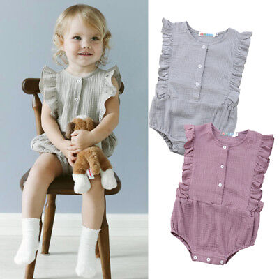 UK Cotton Newborn Baby Girl Sleeveless Romper Jumpsuit Bodysuit Outfit Clothes