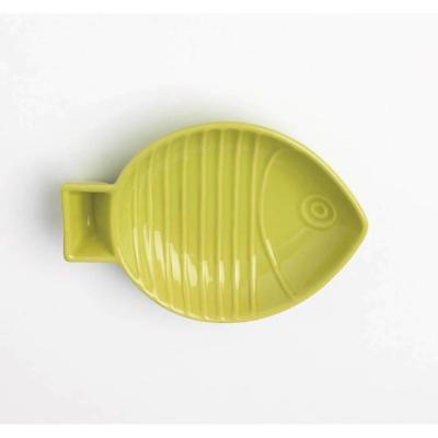 Key West Embossed Fish Pet Saucer Lime 1 Cup