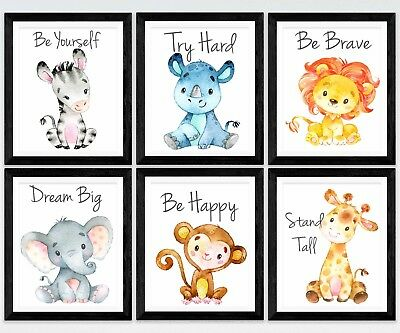 6 x Nursery/Baby wall prints safari giraffe,lion,elephant,zebra,rhino,monkey