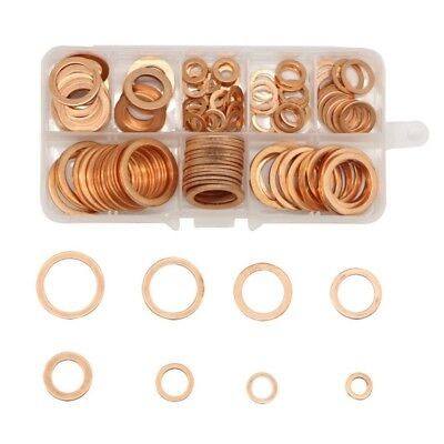 US 200pcs M5-M14 Copper Crush Washer Gasket Set Flat Ring Seal Assortment Tool