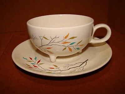 Rare Usa Salem China 3 Footed Cup With Saucer South Wind Free Form Tree Branch
