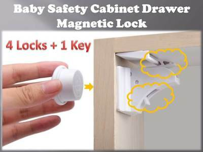 10PCS Magnetic Cabinet Drawer Cupboard Locks fit Baby Kids Safety Child Proofing