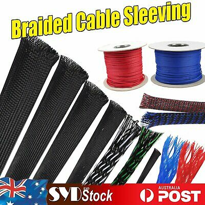 Black Red Blue Expandable Braided Cable Sleeving Sleeve Wire Protector 3 Weave