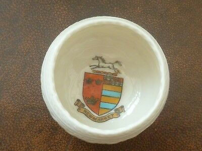 WH GOSS Crested China Model of Ancient Laxey Urn. Crest of Newmarket