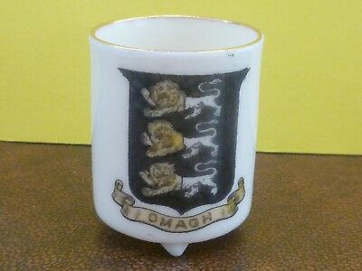 WH GOSS Crested China 3 Footed small Pot. Crest of Omagh