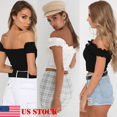 US Fashion Womens Sexy Casual Off Shoulder Tank Top Vest Blouse Crop Tops Shirts
