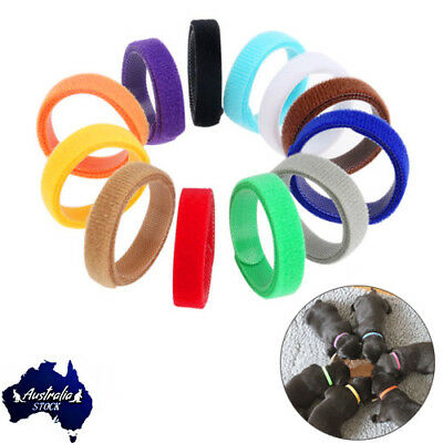 12 Colors Adjustable Newborn Puppy Whelping ID Collar Bands Pet Dog Tags 350mm