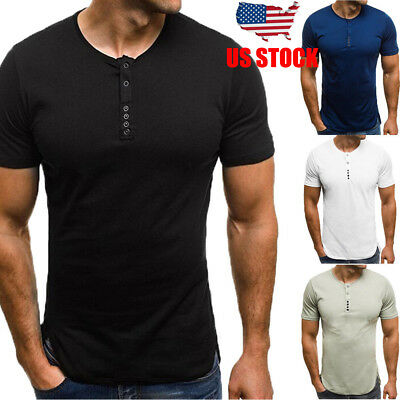 Men's Slim Fit O Neck Short Sleeve Muscle Tee T-shirt Button Casual Tops Blouse