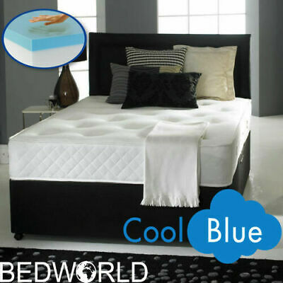 COOL BLUE MEMORY FOAM DIVAN BED WITH MATTRESS AND HEADBOARD 3FT 4FT6 Double 5FT