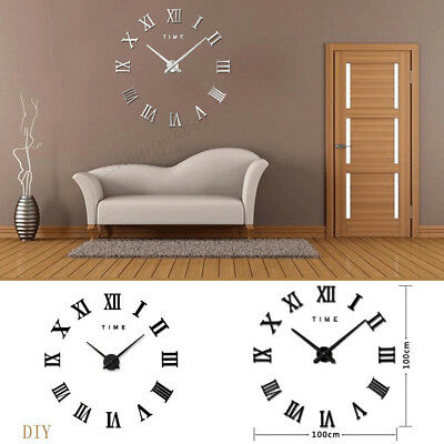 DIY 3D Wall Mounted Clock Extra Large Roman Numeral Clock Luxury Mirrors Surface