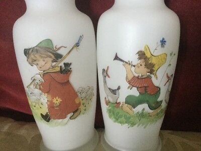 Pair Of Vintage White Glass Vases,Lovely Childrens Images,Boy Shepherd & Piper