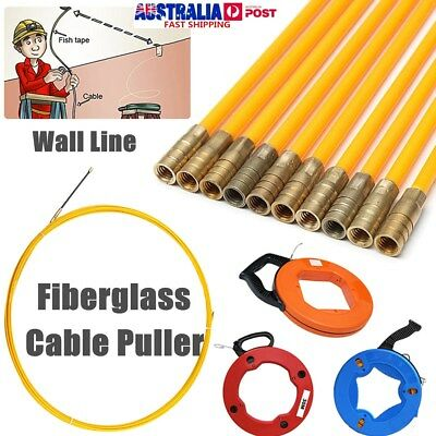 Fiberglass Wire Cable Rod Pulling Puller Fish Tape Reel Conduit Ducting Rodder