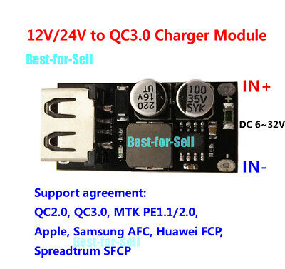 QC3.0 2.0 5V 9V 12V USB Fast Charge Quick Charging Module DIY Phone Charger Car