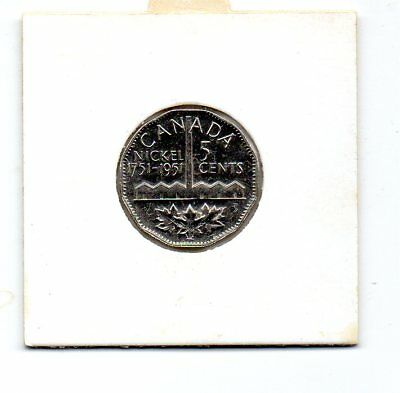 Canada 1951 KGVI 5c Coin-Commomorating Nickel Discovery 1751-1951