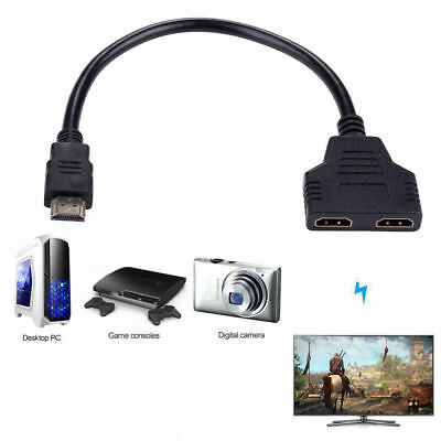 2 in1 HDMI Splitter Repartiteur Multiprise câble 1 Entree Male/2 sorties Femelle
