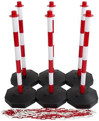 Red & White Safety Barrier Security Fence Post Base Set & 15mtr Plastic Chain