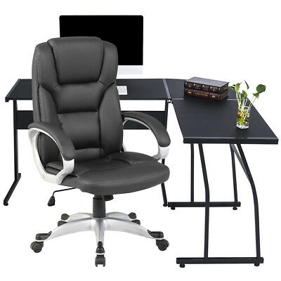 Executive Office Chair Sports Racing Gaming Swivel PU Leather Computer Desk UK