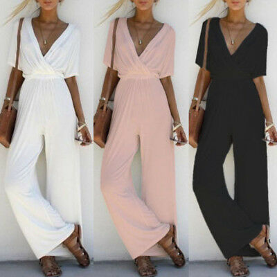 Women V-Neck Jumpsuit Short Sleeve Playsuit Party Wide Leg Long Trousers Romper