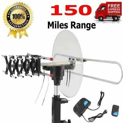 Outdoor 150 Miles HDTV 1080P TV Antenna Amplified Motorized HD 36dB UHF VHF FM