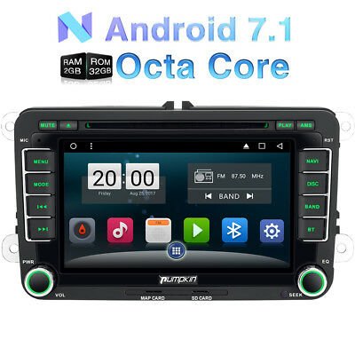 "7"" Android 7.1 2GB Sat Nav Car DVD Player GPS DAB+ For VW Jetta Golf Polo Passat"