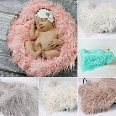 Newborn Infant Baby Soft Faux Fur Rug Mat Blanket Backdrop Photography Props EL