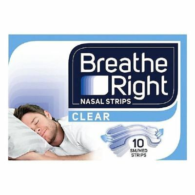Breath Right Nasal Strips Small/Medium 10 Clear Strips 1 2 3 6 12 Cases