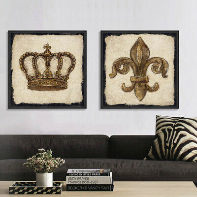 2 Piece Wall Art Set Digital Canvas Prints Crown Vintage Posters Unframed