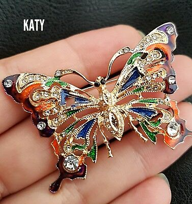 Vintage Gold Diamante Enamel Rhinestones Crystal Butterfly BROOCH Pin  Broach Uk