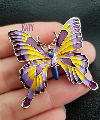 Vintage Gold Diamante Purple Blue Enamel Crystal Butterfly BROOCH Pin  Broach Uk