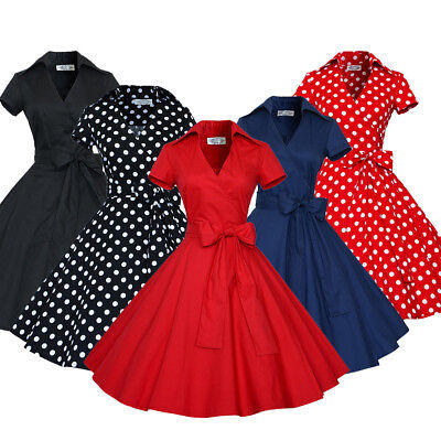 Women Vintage Dress 1950s Swing Retro Casual Party Ball US Size 2-6-8-10-12-14