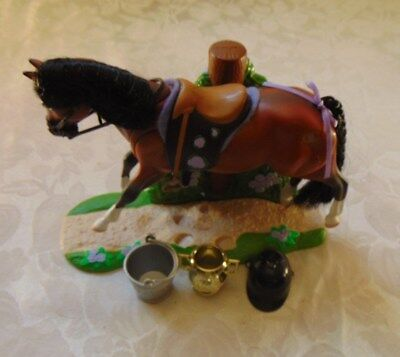 Vintage Toy Horse Grand Champions W/mains & Saddle Movable & Stand W/accesories