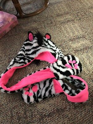 Girls Justice One Size Fits All Zebra Hat Scarf