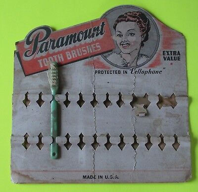 Vintage Paramount Tooth Brushes Cardboard Display Stand with Toothbrush