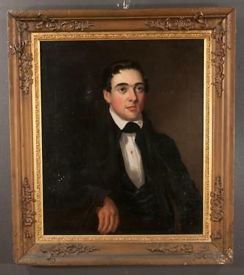 19th century oil painting on canvas, portrait of a young man in a blac... Lot 67