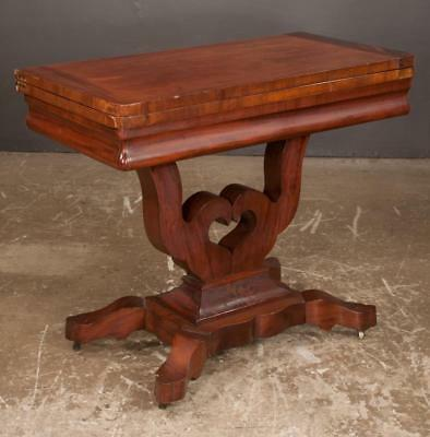 American Empire mahogany lift top game table on a lyre shape base wit... Lot 363